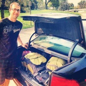 Packing the car to head to the airport for our honeymoon!